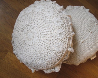 Shabby Chic 100% Hand Crochet Cotton Ivory White Round Pillow Shams, Cushion Cases