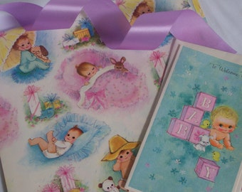 Vintage Baby Gift Wrap Set - Paper Ribbon & Card - Shower - Babies