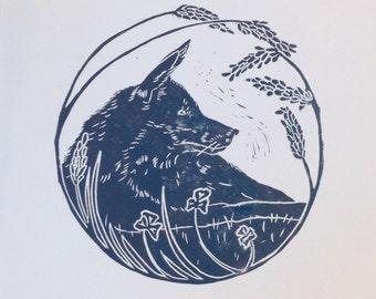 Hand printed linocut fox