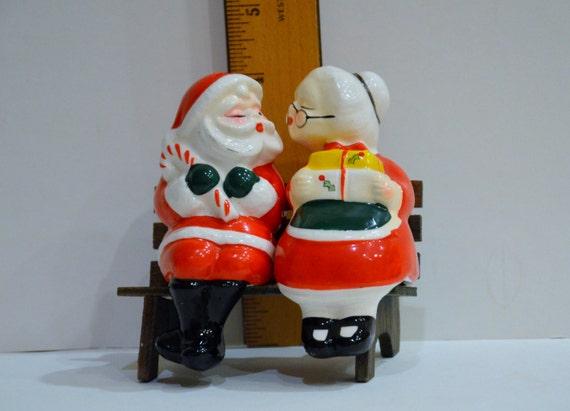Vintage 3 Piece Mr Santa Claus And Mrs Santa Claus Sitting On