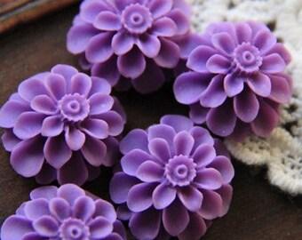 12 pcs of resin flower cabochon20mm-0031--34-amethyst