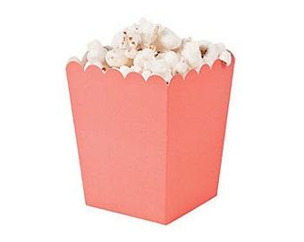 12 Mini coral popcorn boxes treat favors