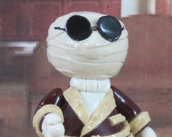 The Invisible Man Wee Monster for fairy garden, cake topper, ornament OOAK handmade
