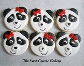 6 Panda Decorated Cookies