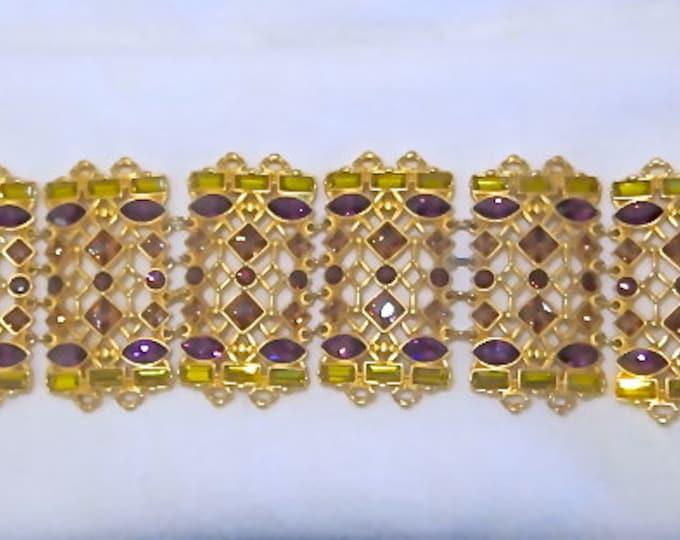 Vintage Swarovski Bracelet Jeweled Crystal Amethyst Ruby Amber Designer Signed Jewelry