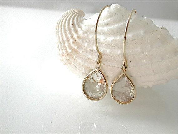Simple Diamond Dangle Earrings Tear Drop Rose Cut by JewelLUXE