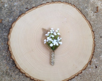 Silk Flower Boutineer with Baby's Breath Burlap and Twine for Groom or Groomsmen - Wedding or Event