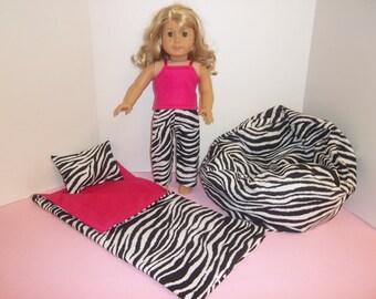 Fits American Girl Doll Black and White Zebra Sleeping Bag Pillow Pajamas And Bean Bag 210 HP