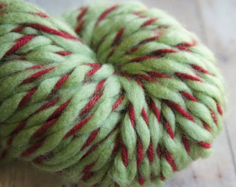 Christmas Tradition, Hand Dyed Yarn Hand Plyed Yarn in Green and Red, 2 ply yarn 46 yrds 036