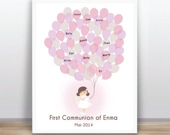 First communion book ballons -  Christening - Baptism -   Custom color, size and text available
