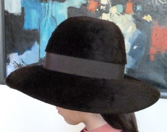 1970s Paris Gelot Plush Fur Hat Wide Brim Fedora Style Brown NEW Original Box Floppy