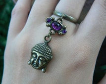 brass buddha ring purple cabachon in boho gypsy Moroccan Indie New Age hippie hipster native american tribal fusion and tribal style