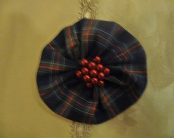 Navy Blue and Red Tartan Hairclip with red pearls in centre, tartan hair accessory