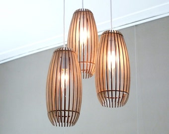 Woodshades - TRIO - wooden ceiling canopy with 3 lamp pendants