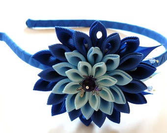 Kanzashi Fabric Flower headband. Shades of blue.