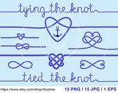 tying the knot, wedding invitation, navy blue rope hearts, clip art, anchor, nautical clip-art, commercial use, EPS, SVG, instant download