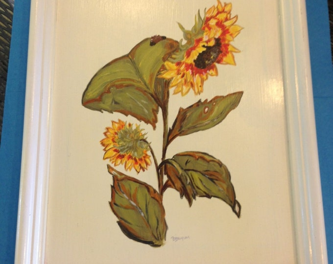 Solid Wood Tray with Handles - Acrylic Painted Sunflower on Top