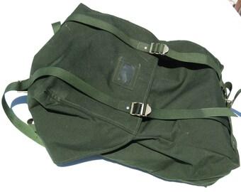 Vintage Green European Army Hiking Rucksack Backpack Laptop Bag