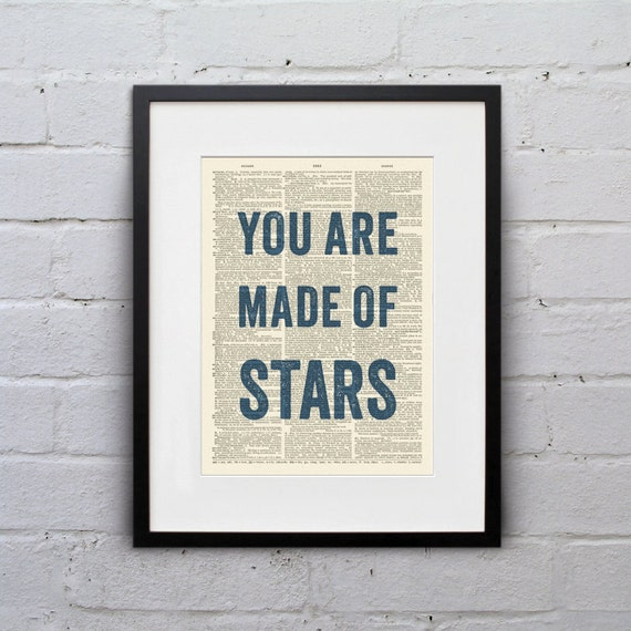 You Are Made Of Stars - Inspirational Quote Dictionary Page Book Art Print - DPQU128