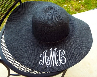 Monogrammed Black Sun Hat - discontinued, limited supply