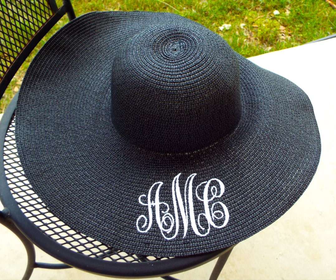 monogrammed black sun hat discontinued limited supply