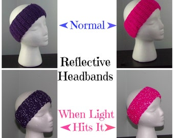 Headbands - Reflective Headband - Earwarmers - Headwrap - Earmuffs - Child Earwarmers -Adult Headbands-Crochet Headbands-Headbands for Women