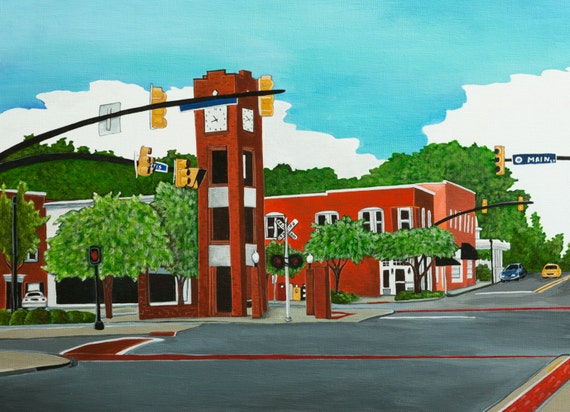 Items similar to clock tower simpsonville sc on etsy for Craft stores greenville sc