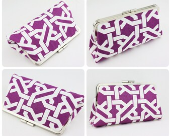 Lavender Purple Bridesmaid Clutches / Orchid Wedding Purses / Bridesmaid Purse Clutch - Set of 4