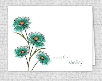 Personalized Note Cards, Teal Spring Flower Stationery - Set of 10