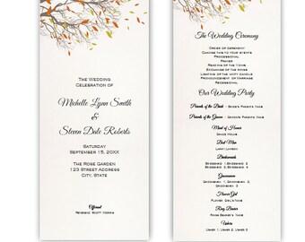 Fall Branches Tea Length Wedding Program DIY Printable Editable Template Instant Download