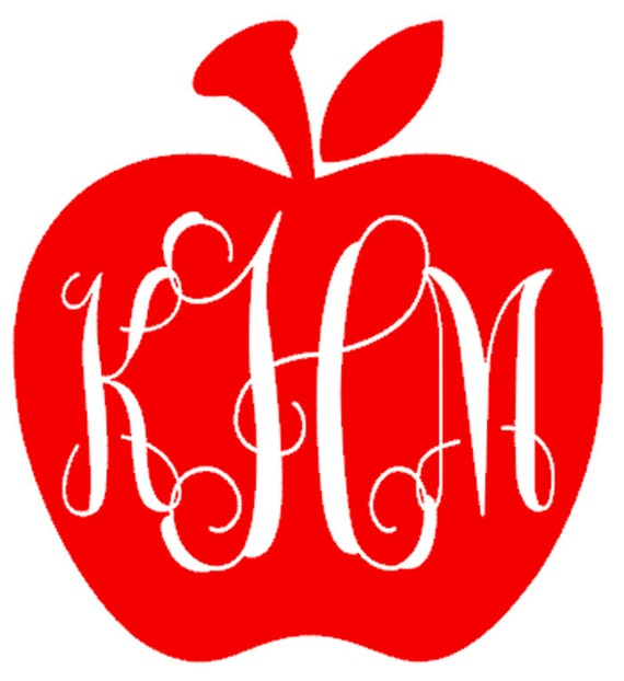Items Similar To Apple Monogram Car Decal Window Sticker