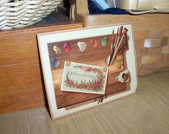 Victorian Art Card Artist Palette Wood Board Christmas Greeting Ephemera Find Free Shipping Lower US