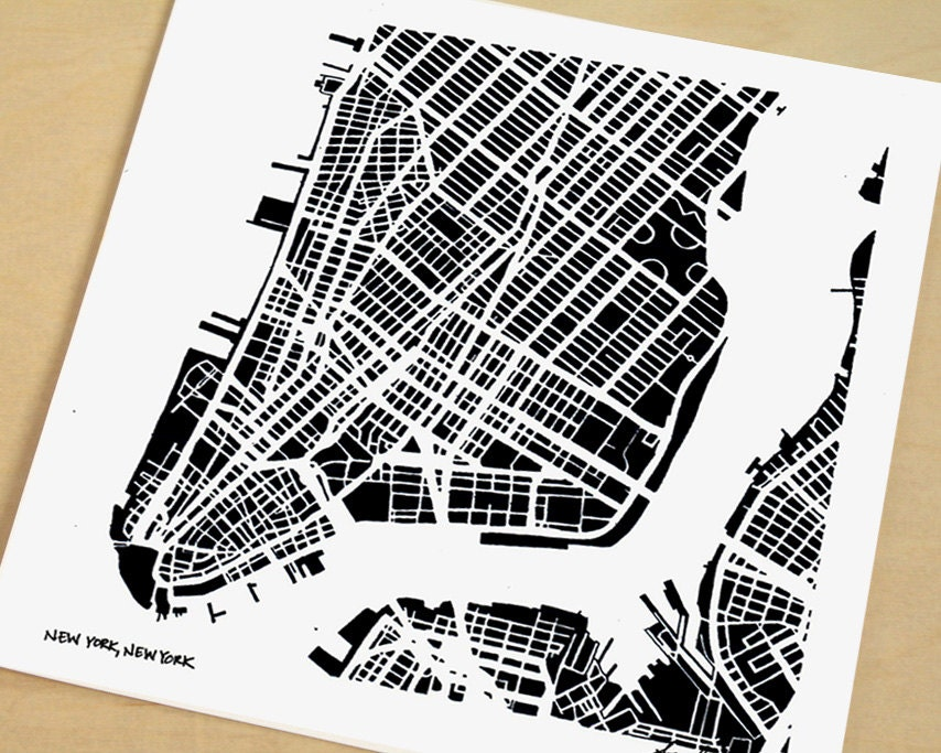Map Of New York City Lower Manhattan Map HandDrawn NYC - New york city map drawing