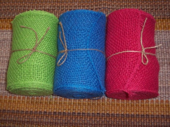 Special for sharon 8 rolls of colored burlap ribbonbright for Colored burlap fabric