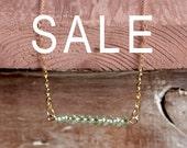Delicate Gold Chain Necklace with Aqua Swarovski Beading - Minimal Jewellery / Jewelry