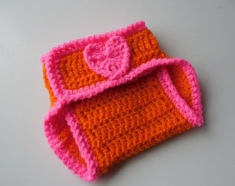 Crochet Baby Diaper Cover - Pink and Orange - Nappy Cover - Handmade - Crochet - Made to Order