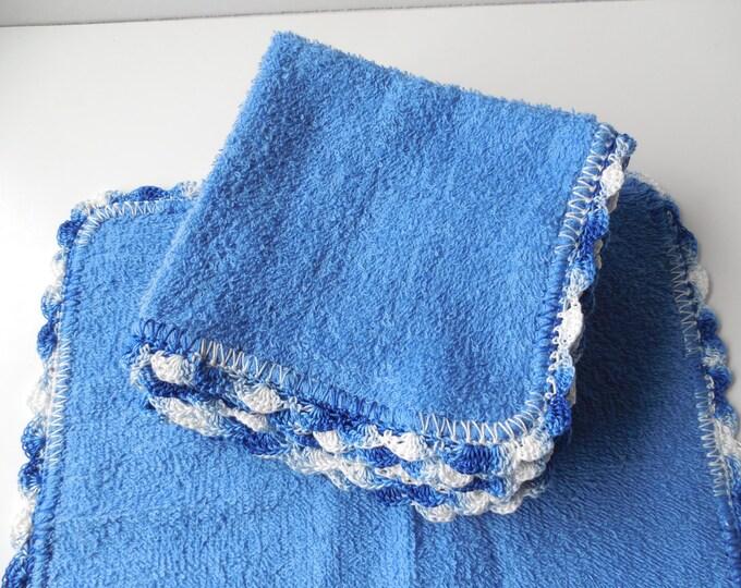 Crochet Edged Blue Wash Cloth - Dish Cloths - Handmade Crochet - Ready to Ship