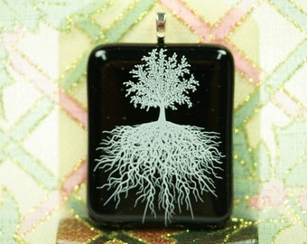 Handcrafted,  Fused Glass Pendant, White,Tree of Life, Black glass, p 277