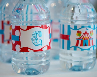 Carnival Fun/Circus Printable WATER BOTTLE LABELS by Marbella Printables