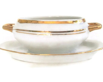 Vintage Empire Porcelaine Mustard or Jam Pot White with Gold Vintage China Condiment Dish
