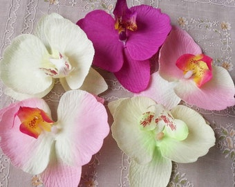 30pcs 9*10cm Butterfly Orchid Phalaenopsis Flower Heads Artificial Fabric Silk Flowers DIY Crafts