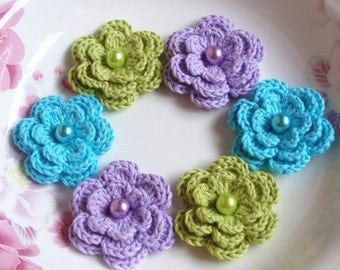 6 Crochet Flowers With Pearls In Green, Lt Turquoise, Lavender  YH-011-54