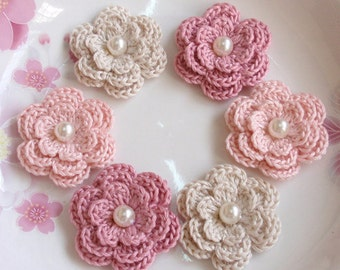 6 Crochet Flowers With Pearls In Cream, Lt pink, Dusty rose YH-011-56