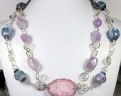 Purple Lampwork and Quartz Necklace, Statement Necklace