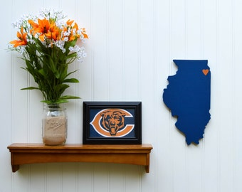 """Chicago Bears """"State Heart"""" wall art, handcrafted wood with official team colors"""