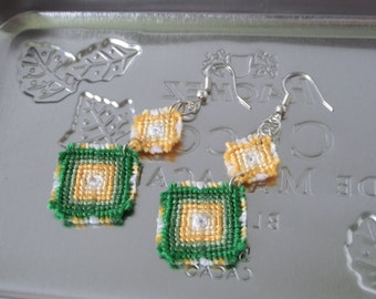 knotted macrame dangle earrings fashion jewelry in green and yellow rhombi earrings