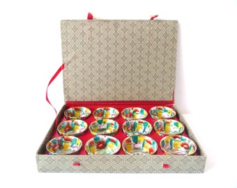 Vintage Chinese Teacups, Set of  set of 12, Sake Cups, Colorful Bowls, Golden Trim, Edges, with Box
