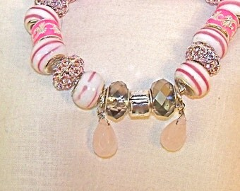 Pink Lampwork Glass Beaded European Style Completed Bracelet
