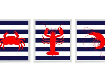 Beach Nautical Art Print Set - Nursery Children Room Kitchen Sea Creature Lobster Shrimp Crab Red Blue - Wall Art Home Decor Set