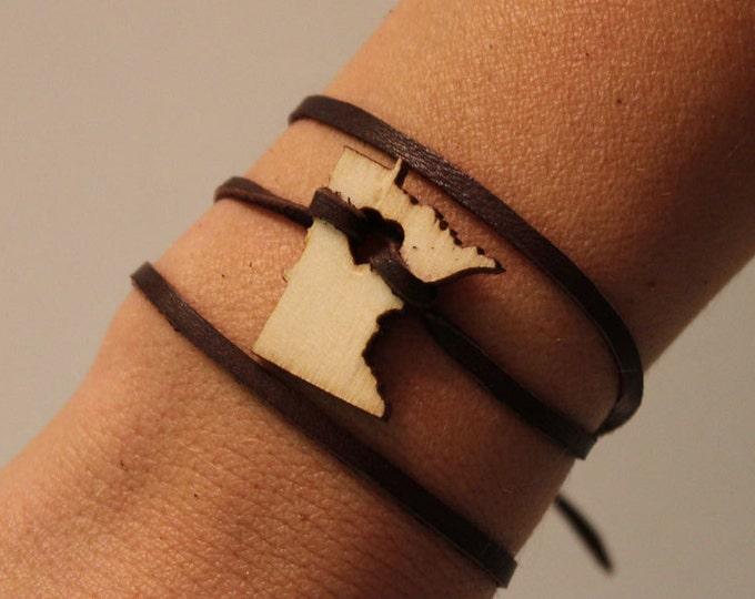 Minnesota States of Love MN state Leather Wrap Bracelet